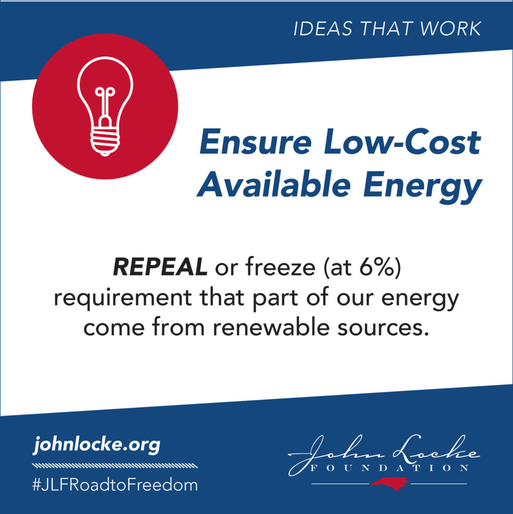 REPEAL or freeze (at 6%) requirement that part of our energy come from renewable sources.