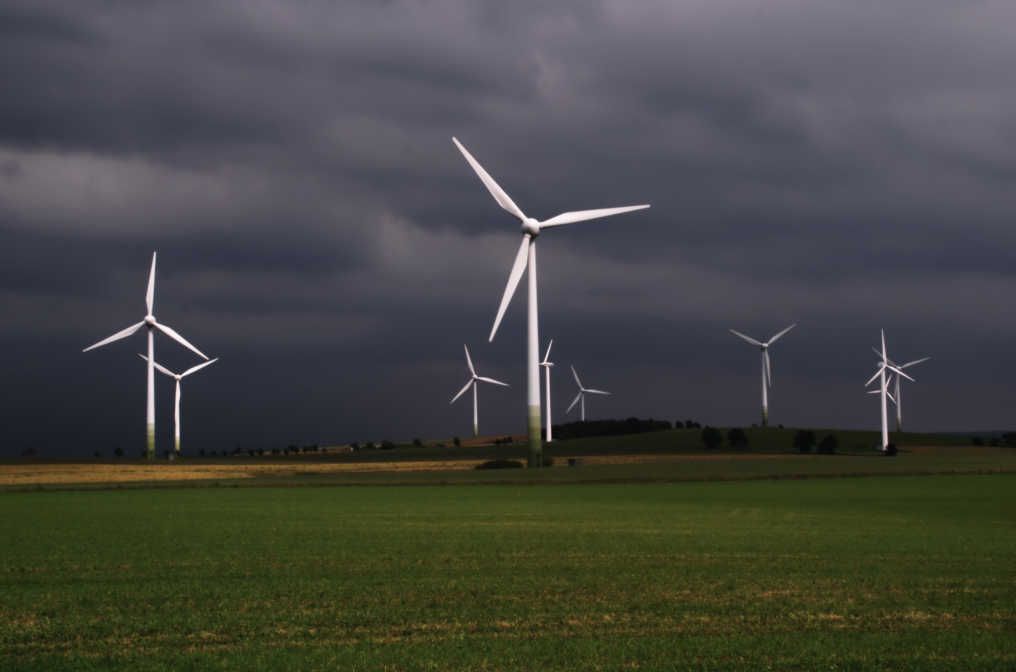 Wind Turbines on a Dark Landscape