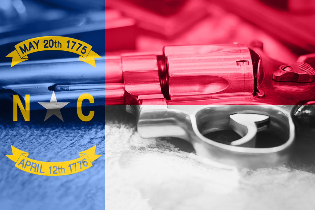 A photo of a silver revolver pistol. an image of a North Carolina flag is overlaid on top.
