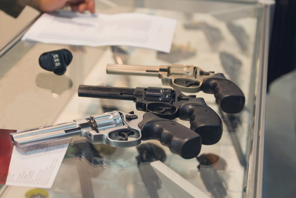 Revolvers on the counter in the gun shop